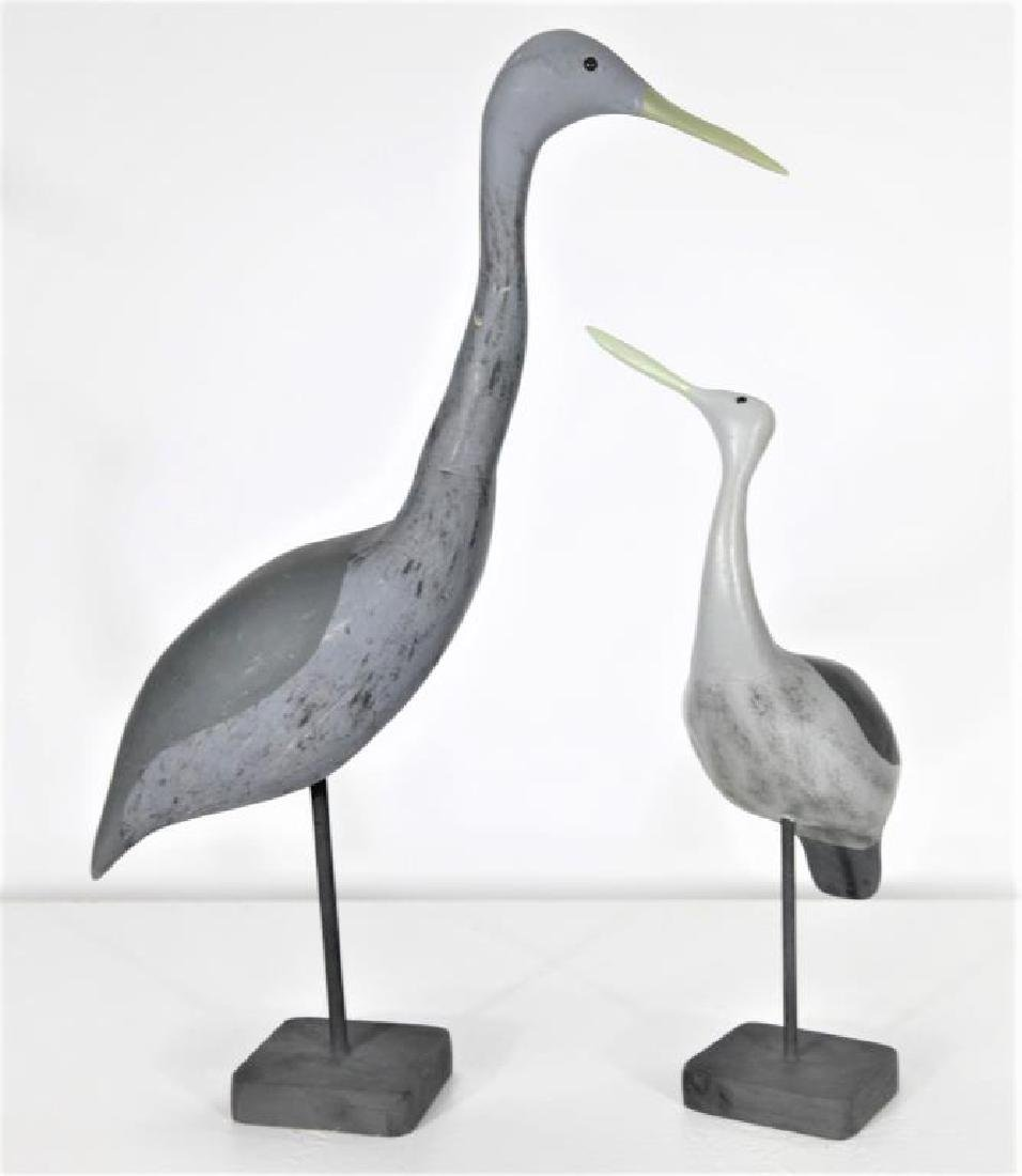Pair of Carved Wooden Shorebirds
