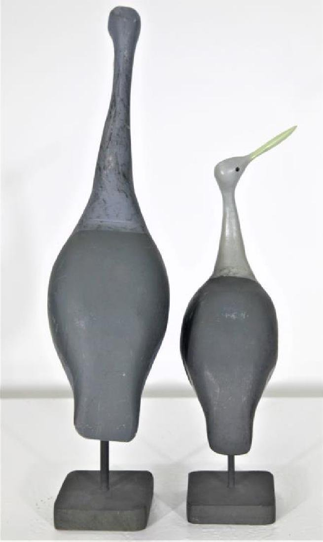 Pair of Carved Wooden Shorebirds - 2
