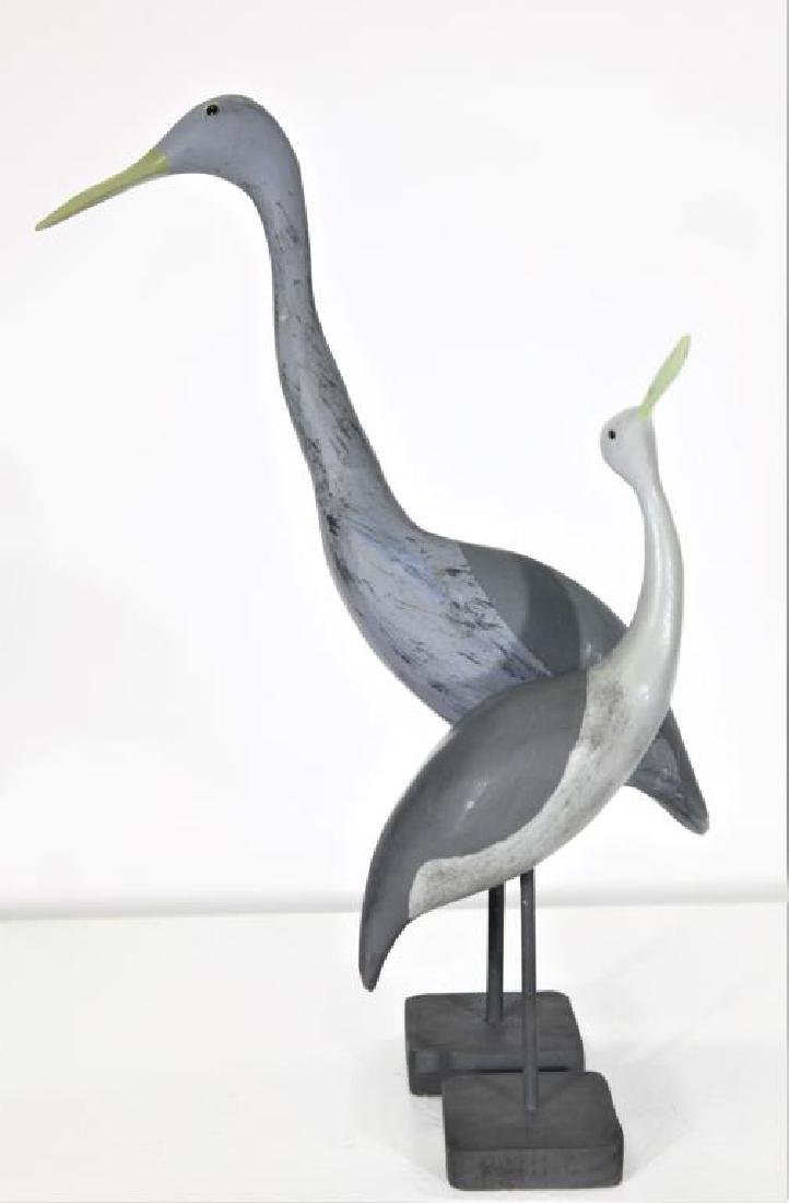 Pair of Carved Wooden Shorebirds - 3