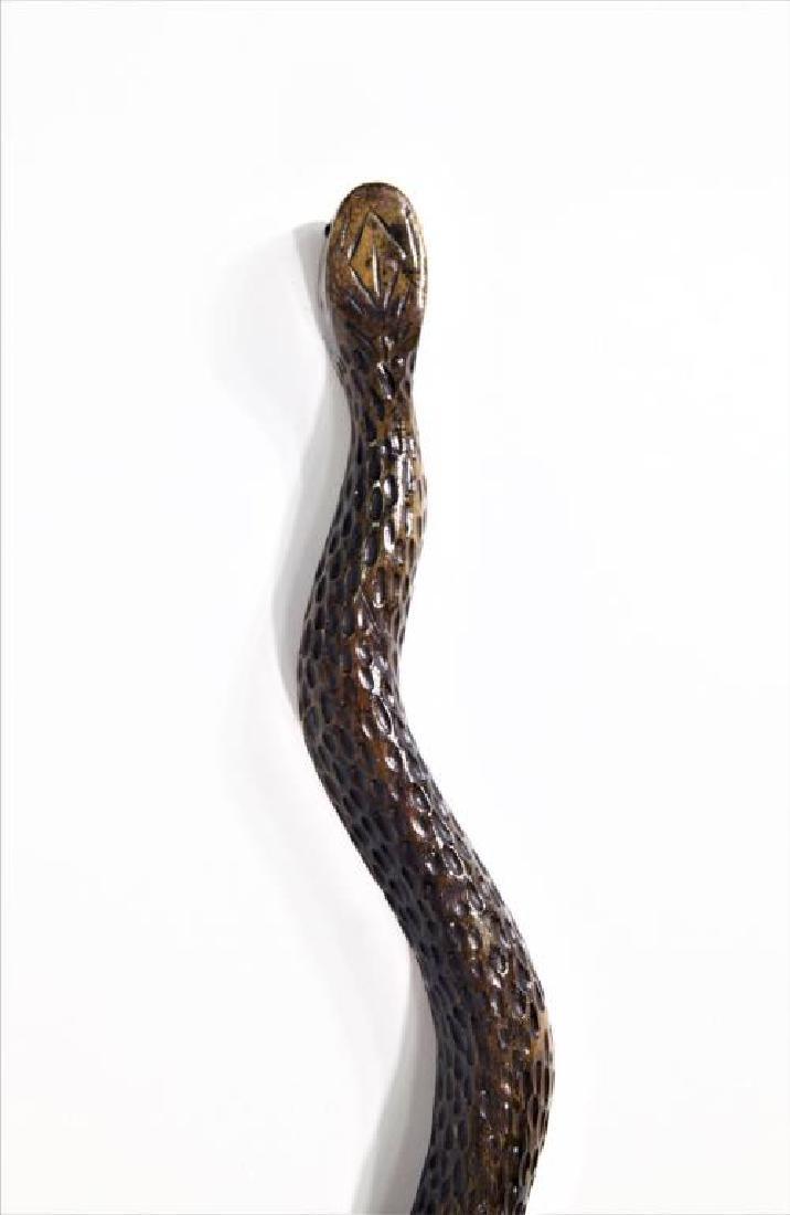Folk Art Carved Wood Cane w/ Glass Eyes - 4