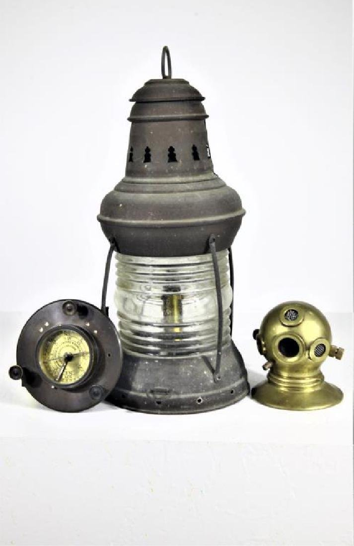 Antique Nautical anchor light, compass, helmut