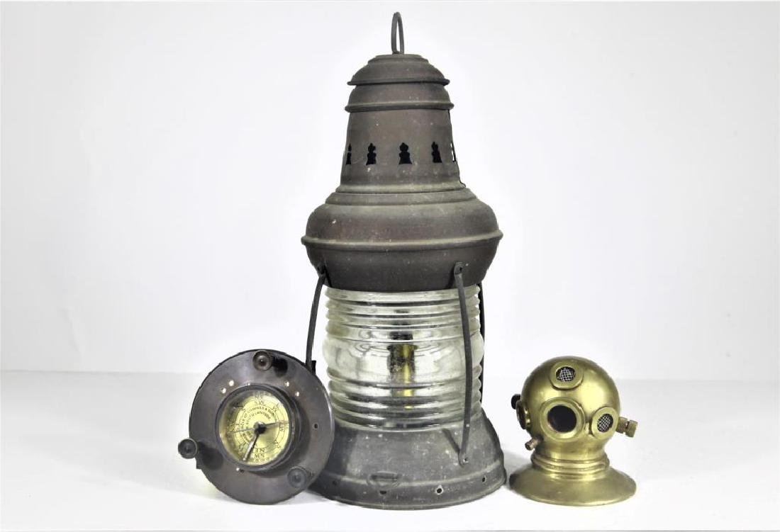 Antique Nautical anchor light, compass, helmut - 2
