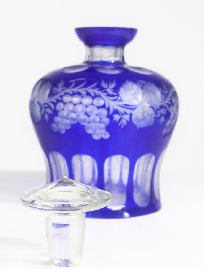 Large Blue Glass Perfume Bottle - 2