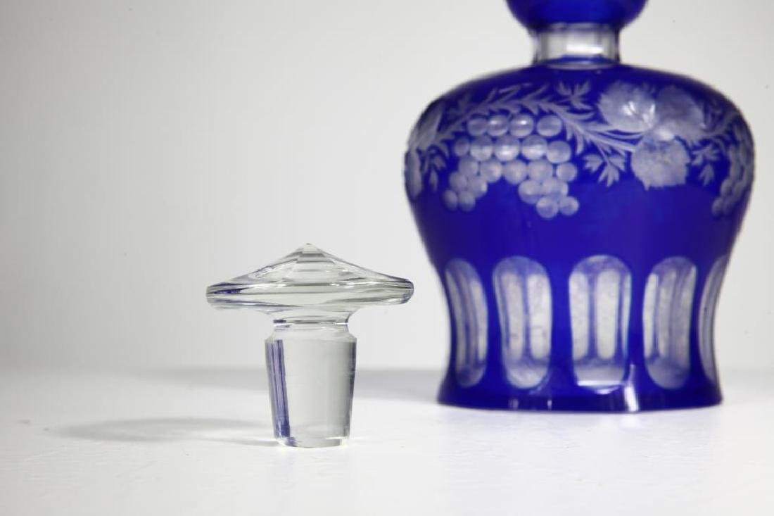 Large Blue Glass Perfume Bottle - 3