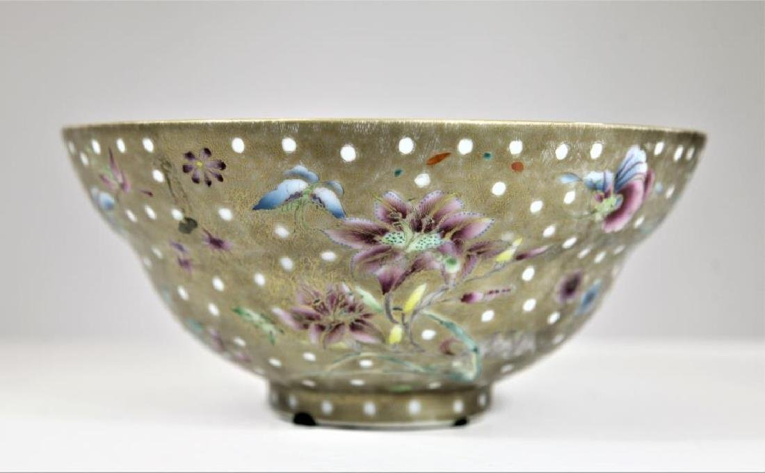 Signed Chinese Famille Gilt Bowl - 2