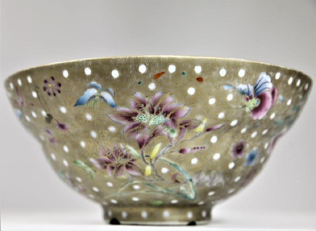 Signed Chinese Famille Gilt Bowl - 3
