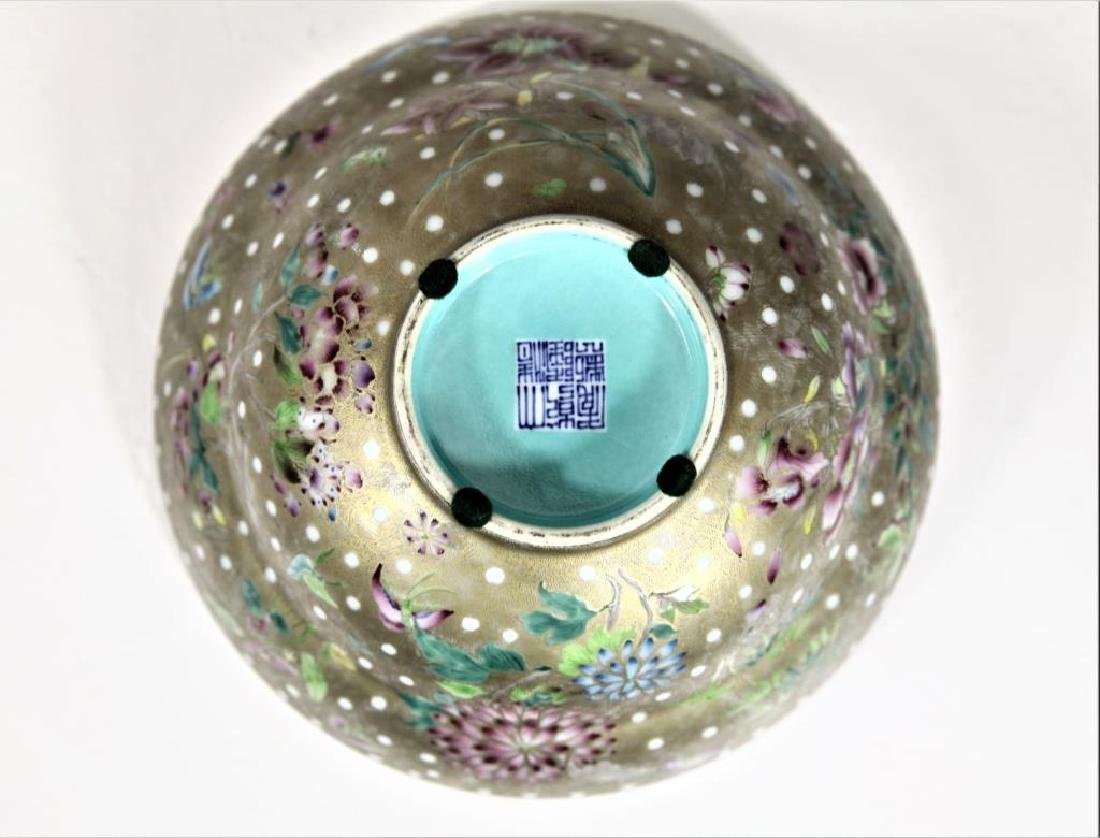 Signed Chinese Famille Gilt Bowl - 5