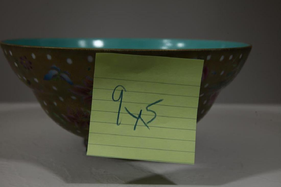 Signed Chinese Famille Gilt Bowl - 7