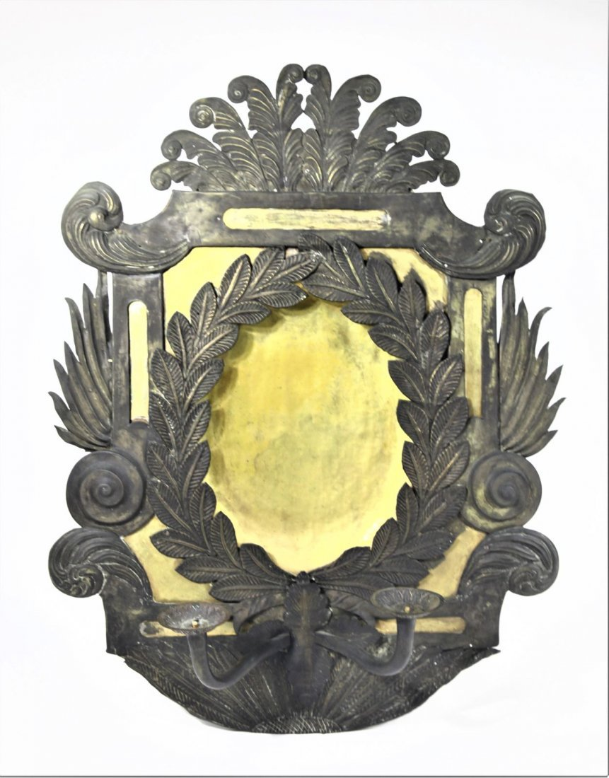 Antique Wood and Metal Oval Gilt Sconces