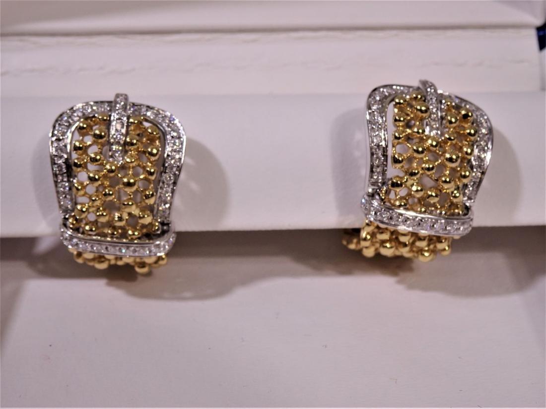 Damiani 18K V52 Flawless Diamond Buckle Earrings