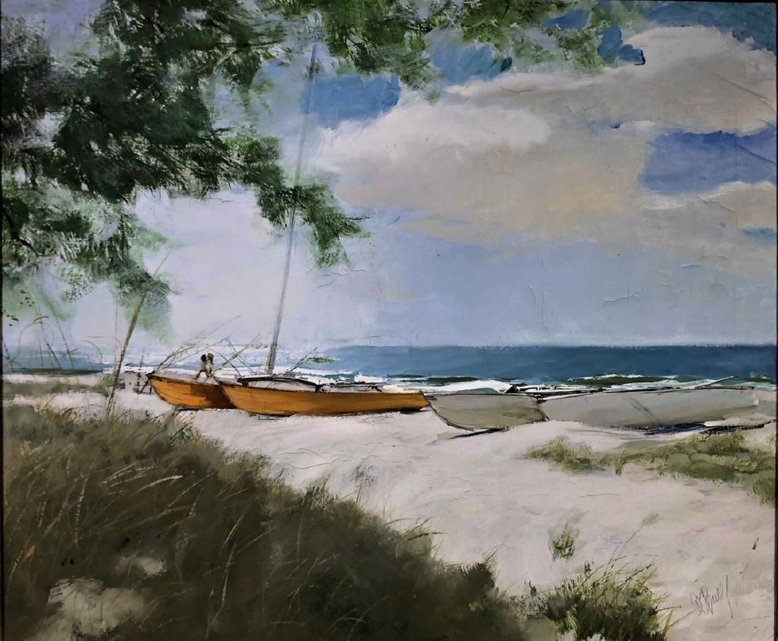 "Al Buell (1910-1996) ""Lido Beach"" Oil on Canvas - 2"