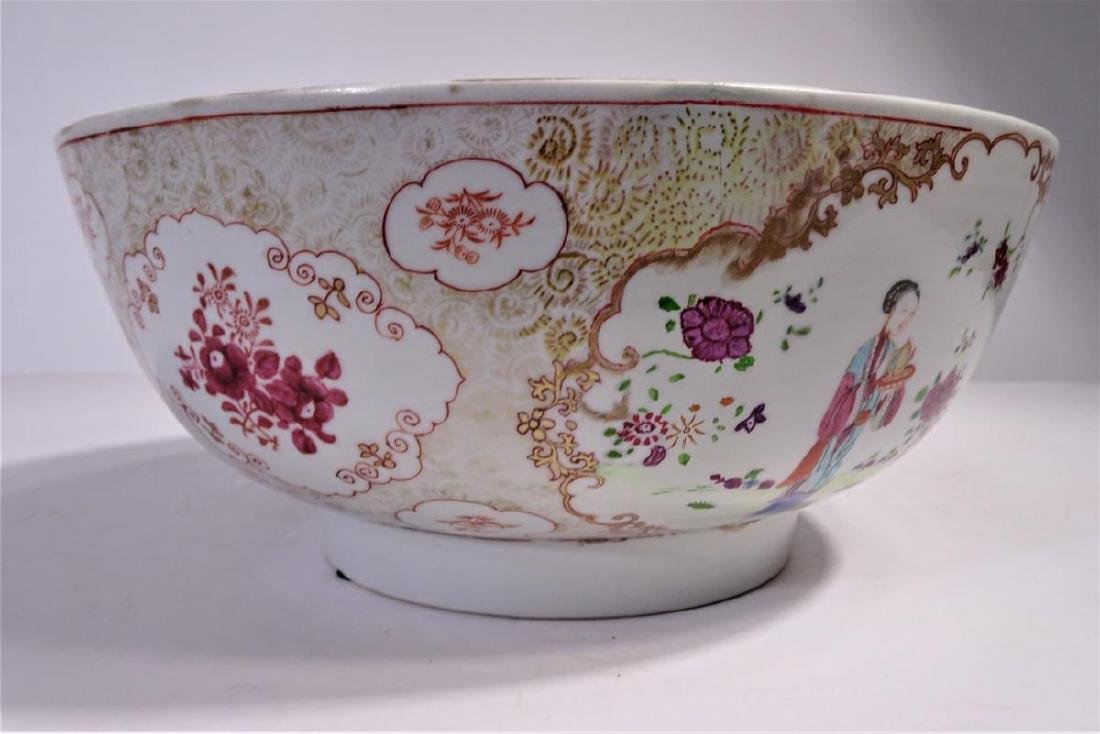 19th C. Chinese Export Porcelain Punch Bowl - 6