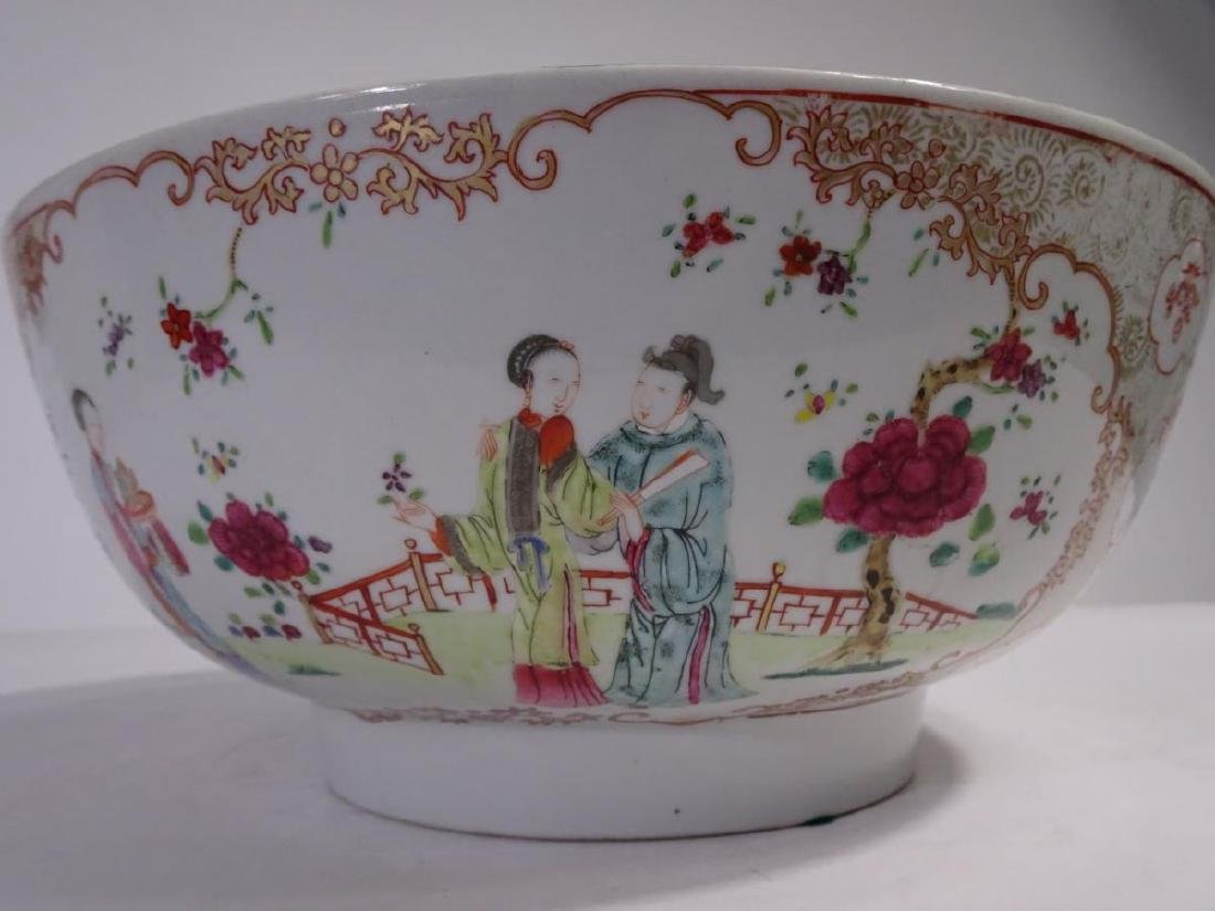 19th C. Chinese Export Porcelain Punch Bowl - 8