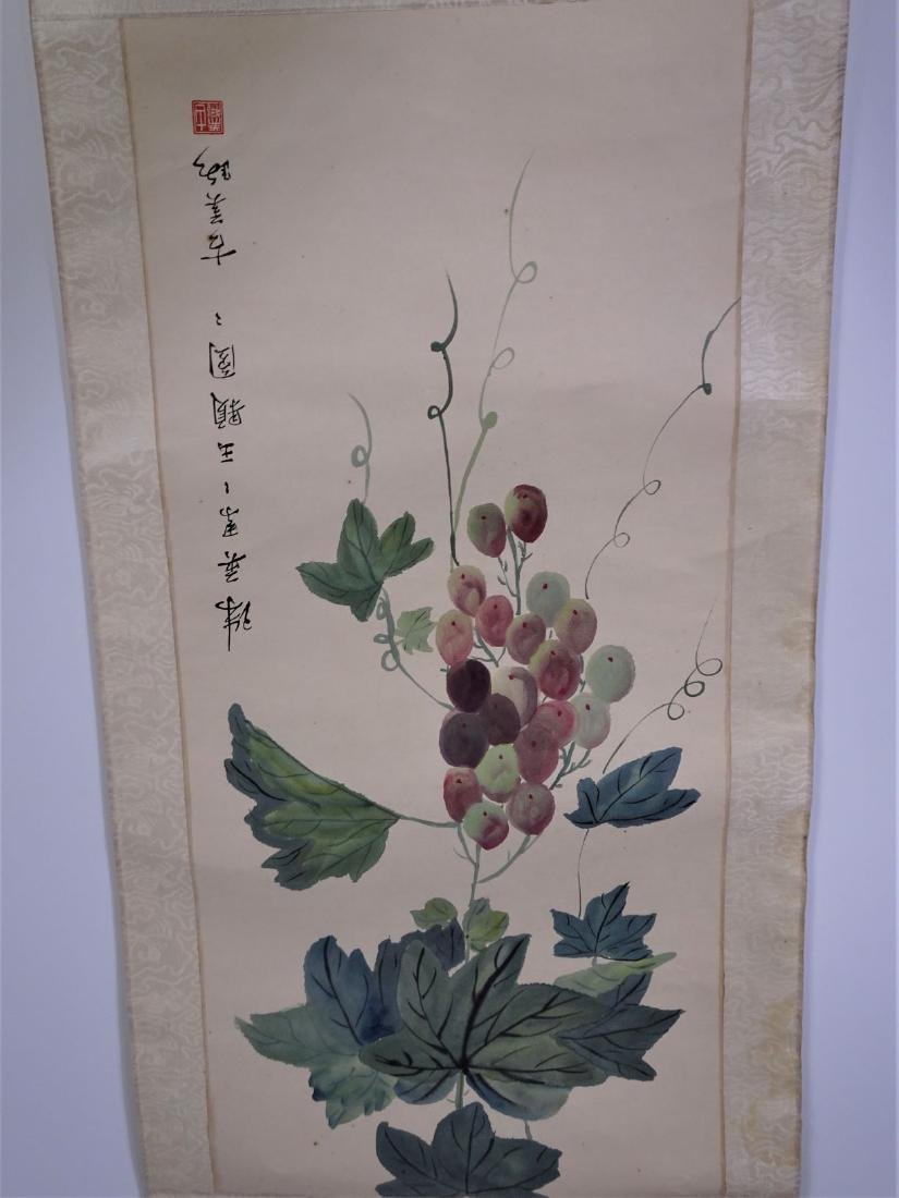 Signed Watercolor Scroll of Grapes