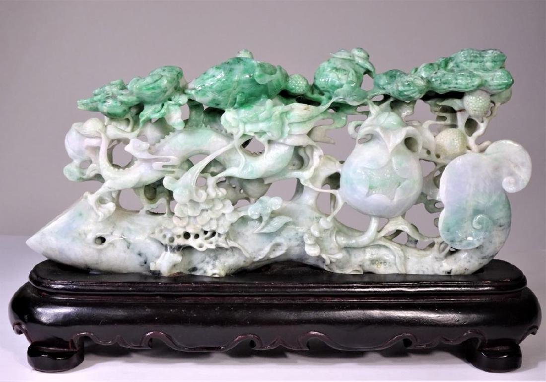 Finely Carved Chinese Jadeite Foliate Grouping - 2
