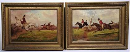 Signed 19th C Equestrian Hunting Scenes England