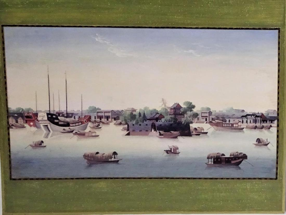 View of the Hongs, Circa 1800,Gouache on Silk