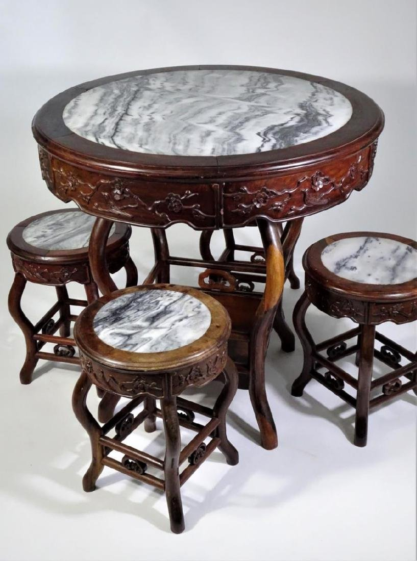Chinese Rosewood Marble Top Table w Four Stools