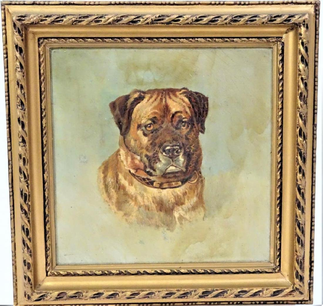 Antique Signed English Dog, Oil on Canvas