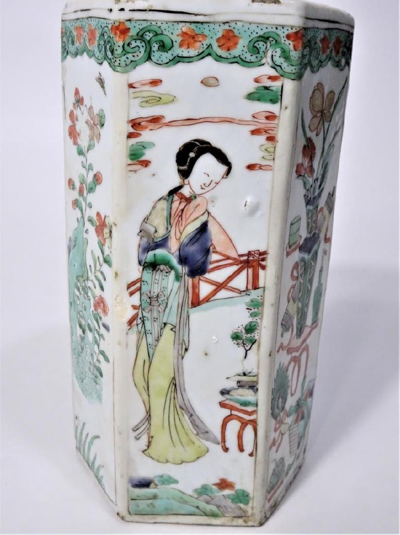 Chinese 6 Sided Famille Verte Vase 18th C
