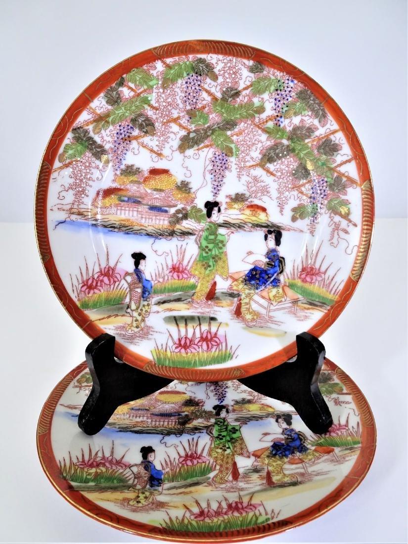 Pair Japanese Hand Painted Nippon Tokusei Plates
