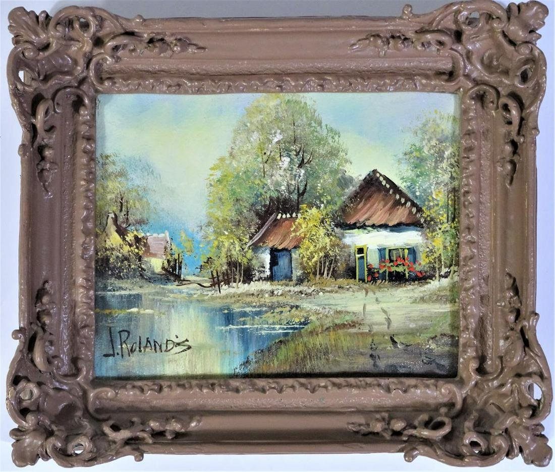 """J. Rolands, Oil on Canvas """"Shanty"""", Signed"""