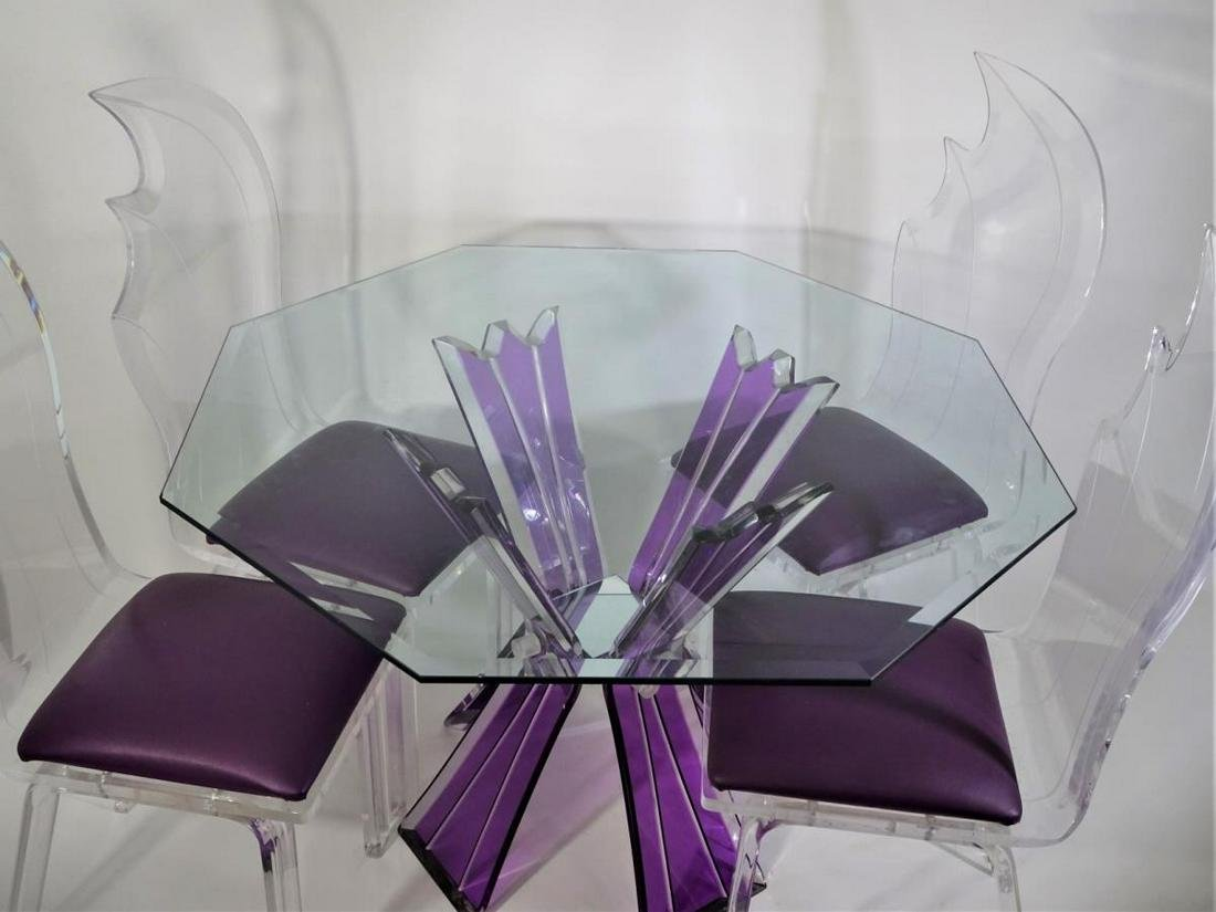 Lucite Dining Table Glass Top w 6 chairs