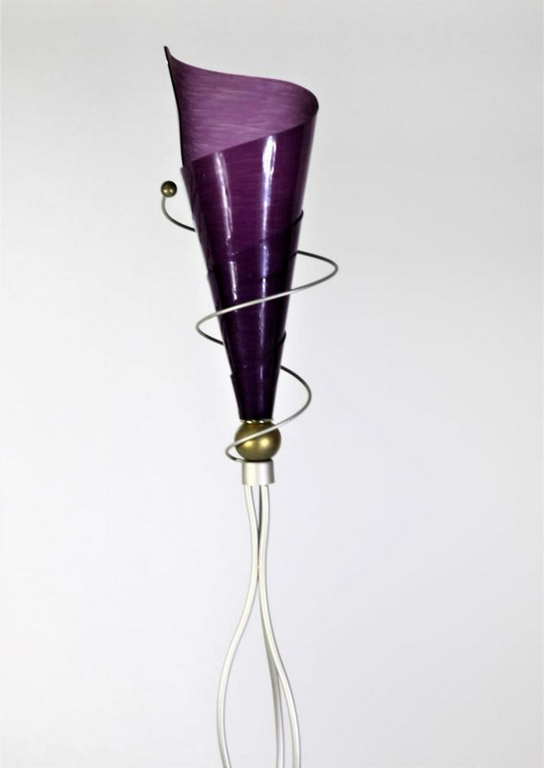 Purple Lucite & Metal Floor Lamp