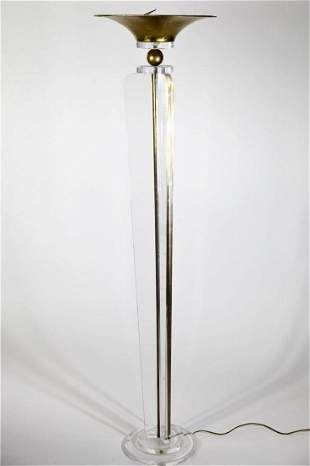 Tall Lucite & Gilt Metal Floor Lamp, Three Wings