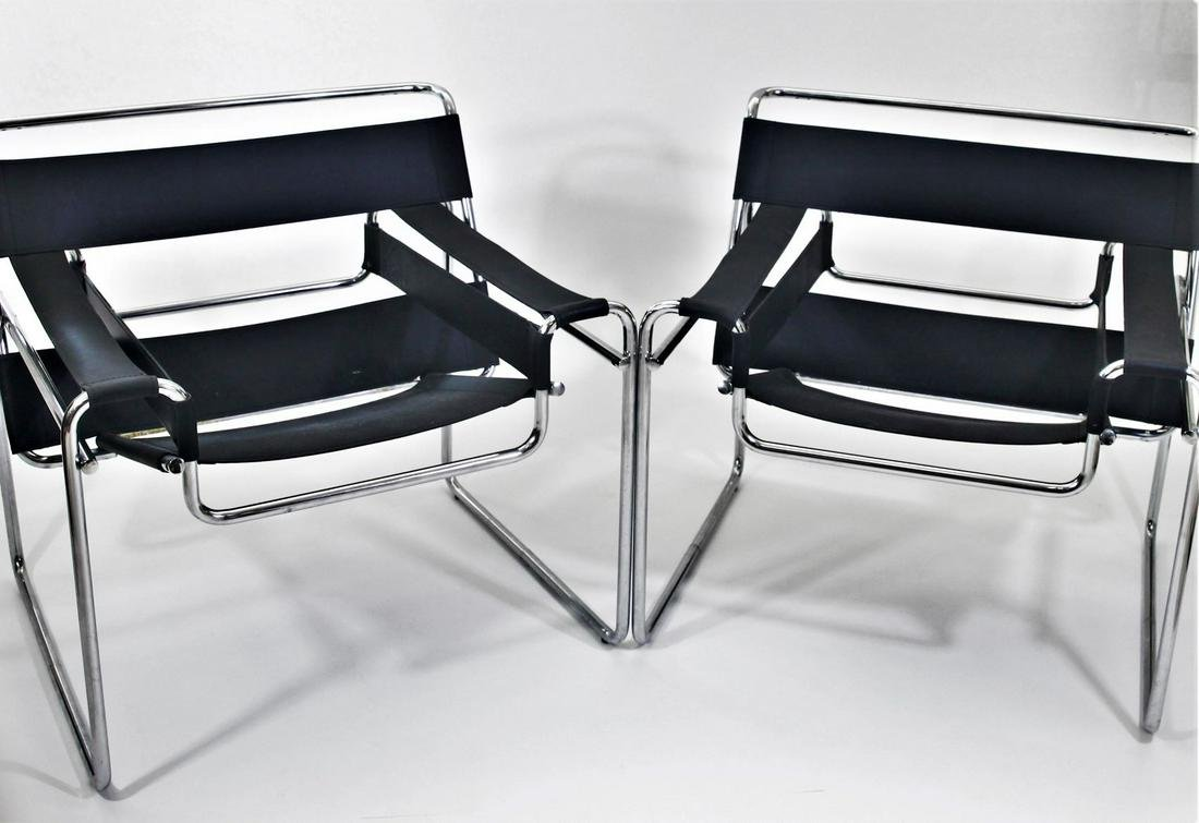 Pair Marcel Breuer Wassily Leather & Chrome Chairs