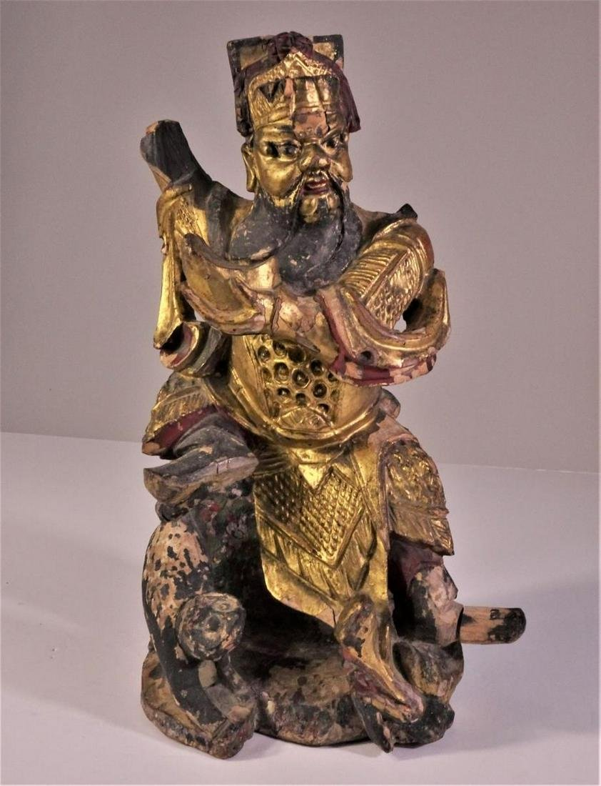 Chinese Gilt Wood Carved Temple Figure