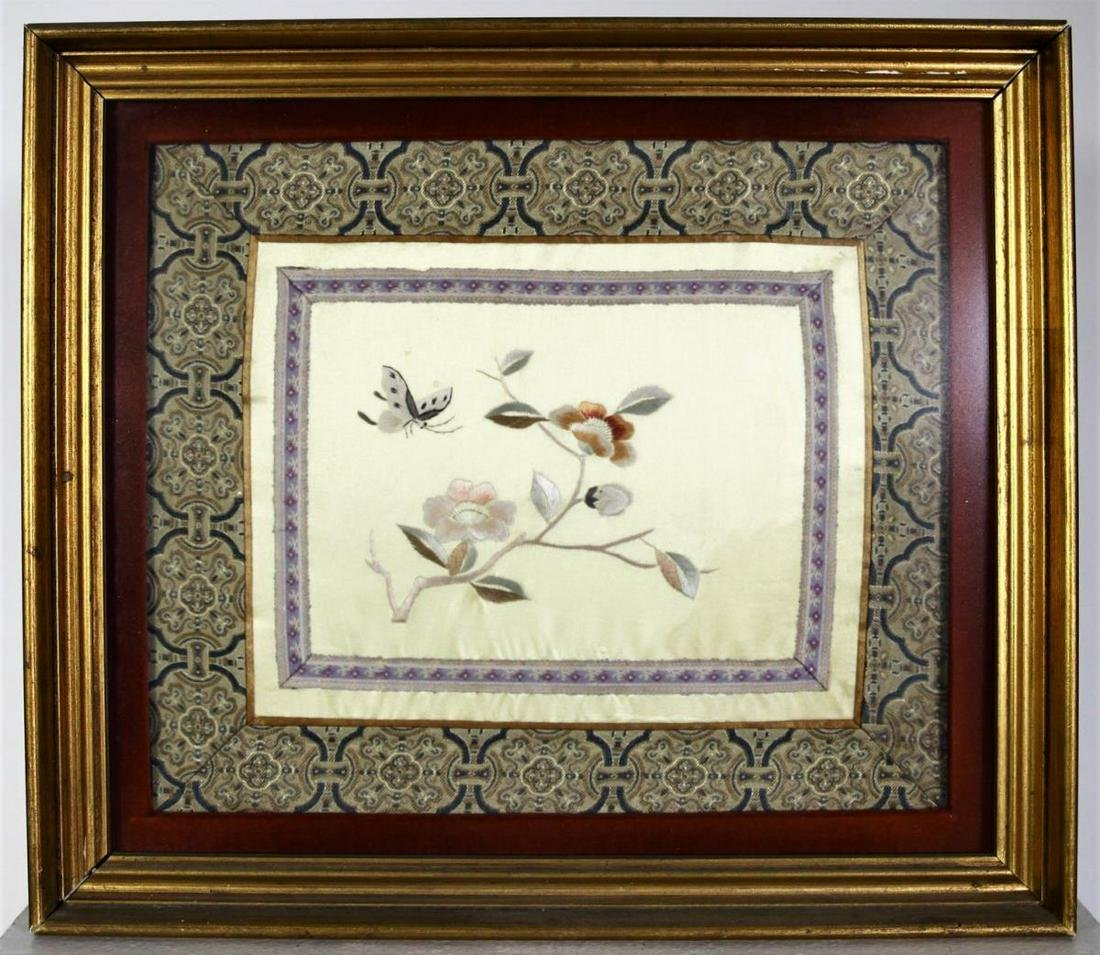 20th C Chinese Silk Embroidery, Speckled Butterfly & Fl