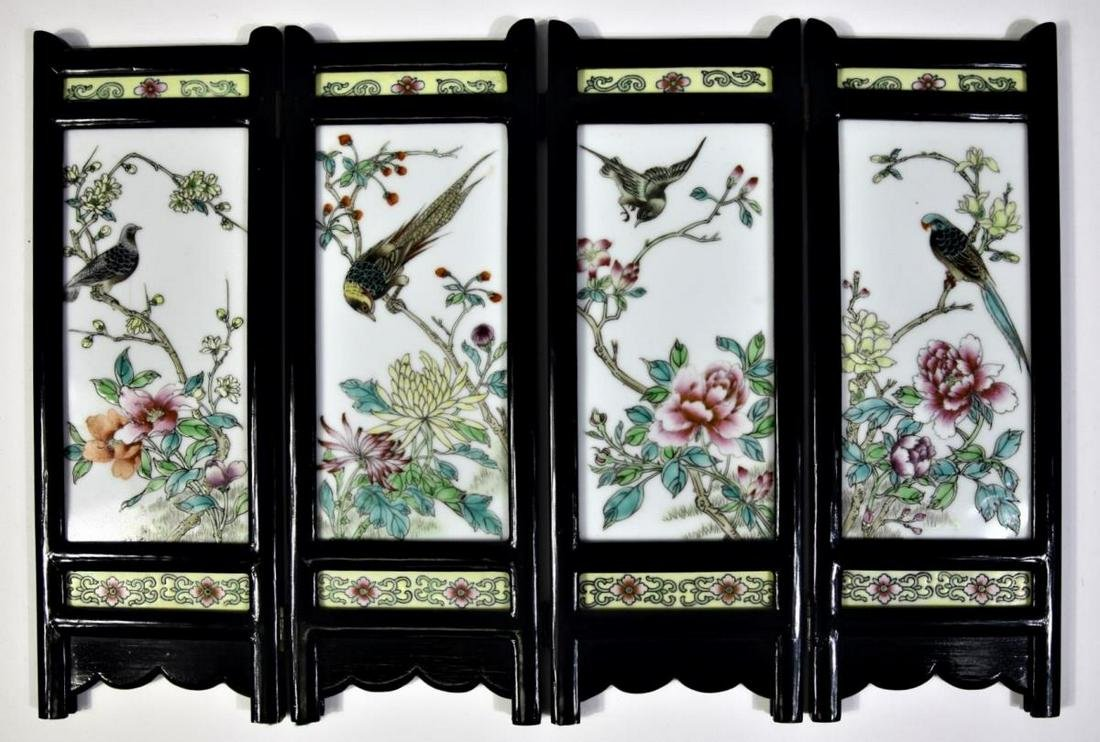 Chinese Enameled Table Screen, Hand Painted