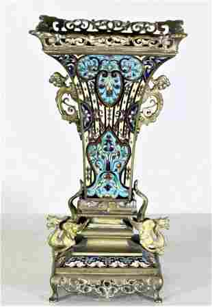 Antique French Champleve Ornate Bronze Vase