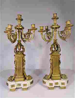 Pair French 19th C Marble Gilt Bronze Candelabras