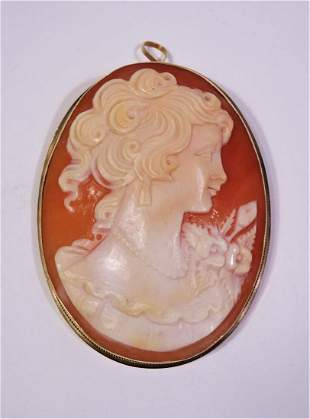 14k Gold Victorian Carved Abalone Shell Cameo