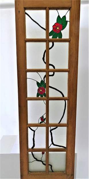 Monumental Stainless Glass Door, Floral Design