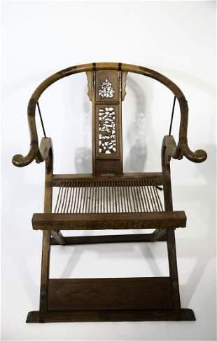 Qing Dynasty Carved Saddleback Throne Chair