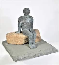 "Boaz Vaadia (1951-) ""Amarya"" Bronze & Bluestone"
