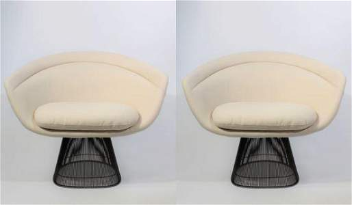 Pair of Knoll Platner Lounge Chairs, Bronze Finish