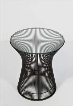 Knoll Platner Glass Top Side Table, Bronze Finish