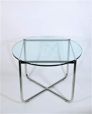 Mies Van der Rohe for Knoll Glass Top MR Side Table