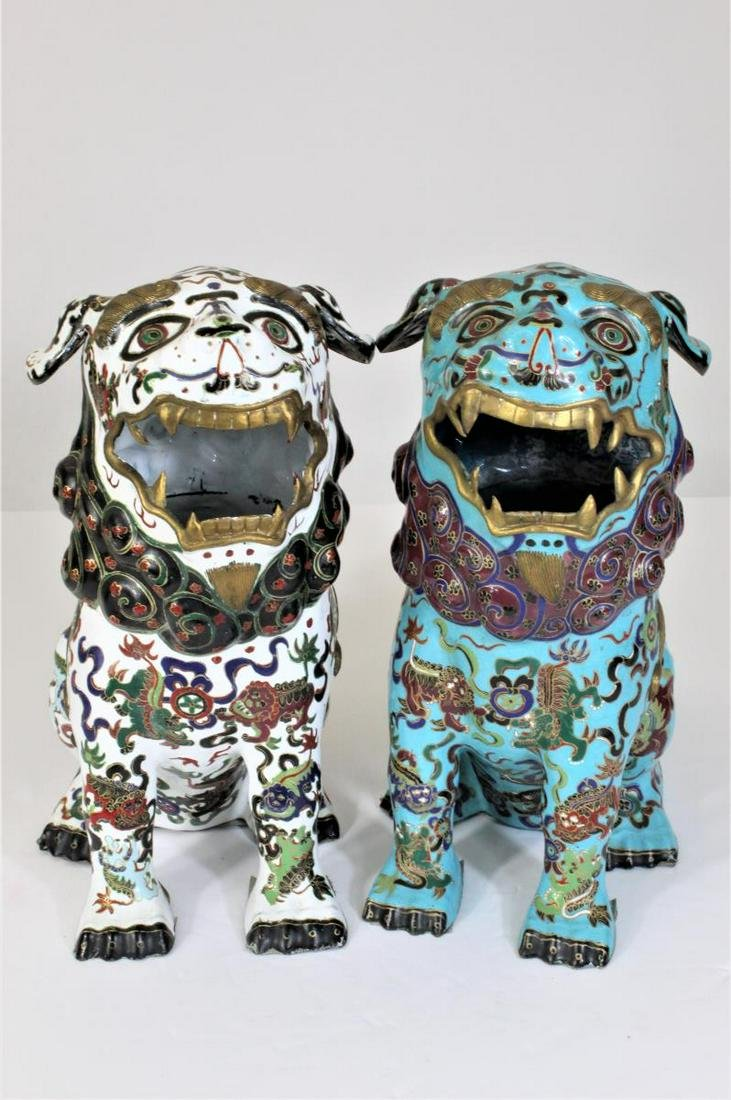 Pair of Chinese Cloisonne Enamel Foo Dogs