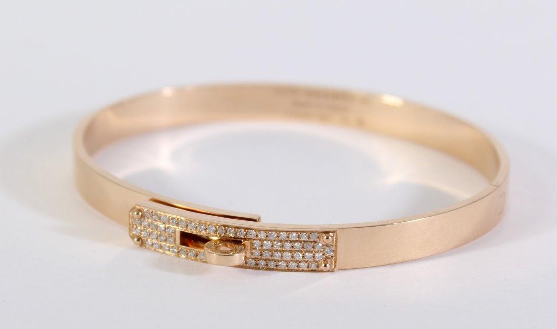 Hermes Kelly SH 18K Rose Gold Diamond Bracelet, 22.8 G