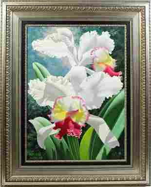 """Brian Davis (1946 - ) American, O/C """"Selby's Orchid"""""""