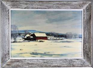 R Lindstrom (20th C.) O/C Landscape with Red Barn