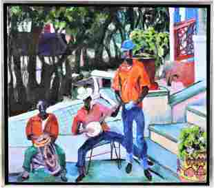 BBR (20th C.) Caribbean Style Oil on Canvas