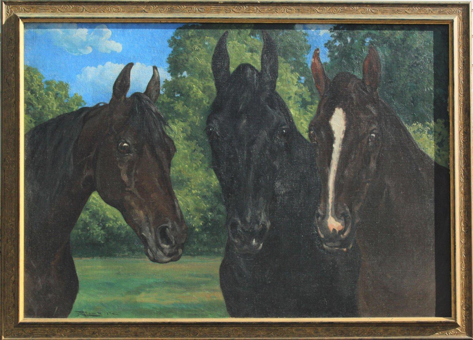 F.M. Lamb (1861-1936) American, Three Horses O/C