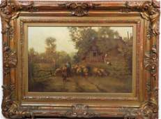 19th C. Dutch Oil on Canvas, Signed
