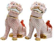 Pair of Foo Dogs Herend Hungary Porcelain